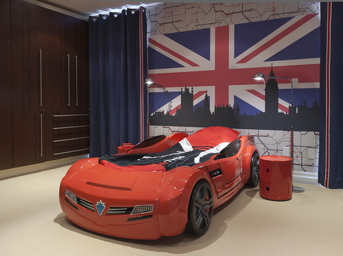 red race car bed for boys room