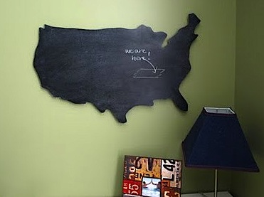 chalkboard usa map with you are here marker