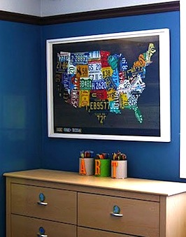 usa map poster for boys room wall art