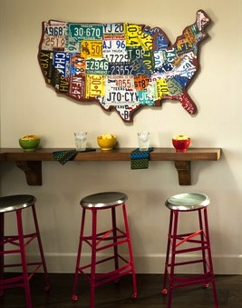 usa license plate map in family room