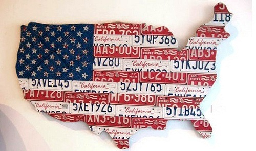 usa ca license plate map for kids room art