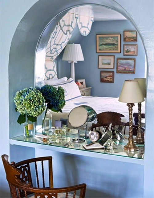 soft blue teen girls room with built in dressing table