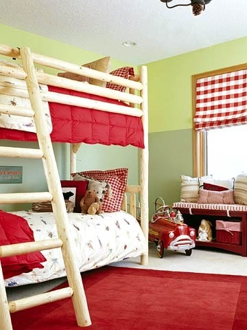 red green boys camp bedroom complementary color scheme