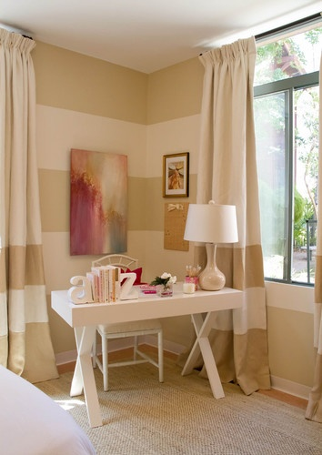 teen girls room with tan monotone color scheme