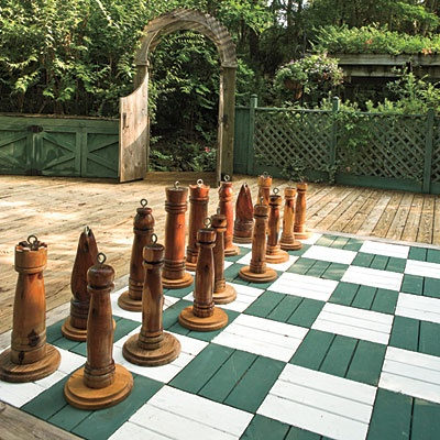 outdoor chess board on deck