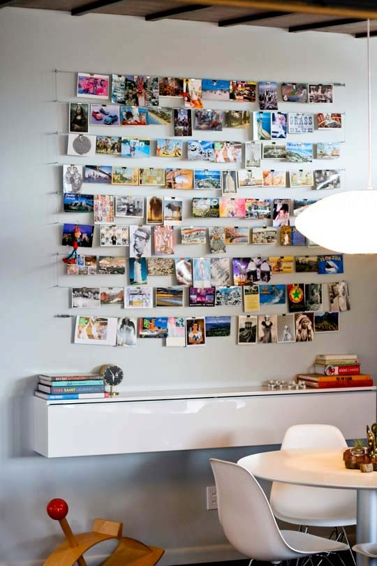 cable rail photo hanging system for family vacation photo display