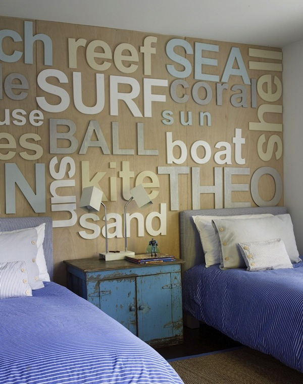 beach theme kids room with coastal words on the wall - Beach Themed Bedrooms