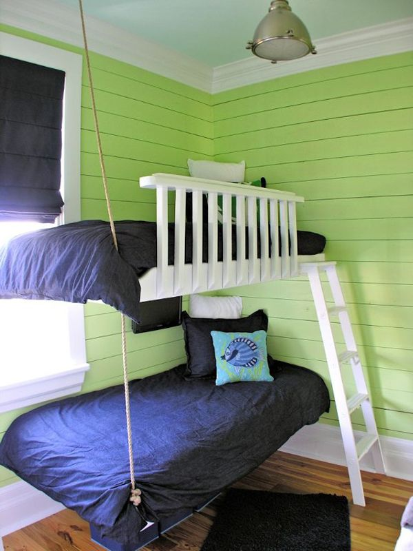Shared teen rooms rope suspended beds kidspace interiors - Camas pegadas ala pared ...