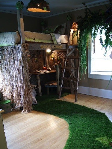 Tree House Bed In Boys Jungle Room