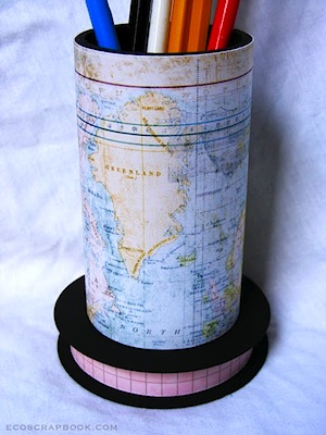 map covered canister pencil holder