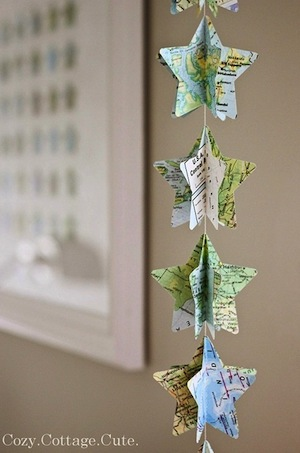 star shaped garland with map paper