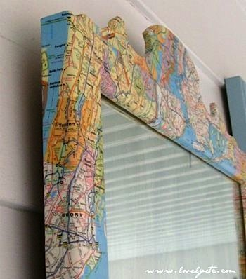 map covered mirror frame
