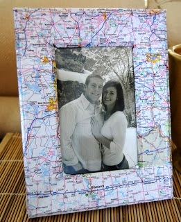 map covered picture frame