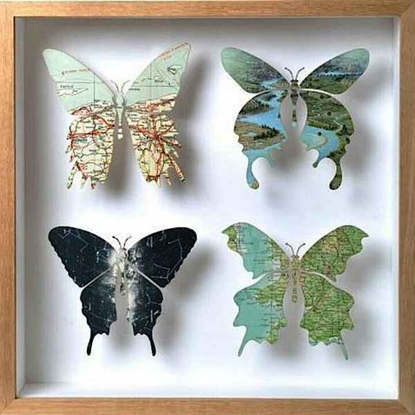 map butterfly artwork in shadowbox frame