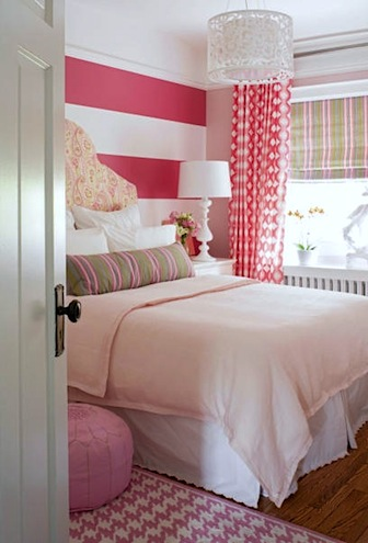 girls pink room with geometric patterns