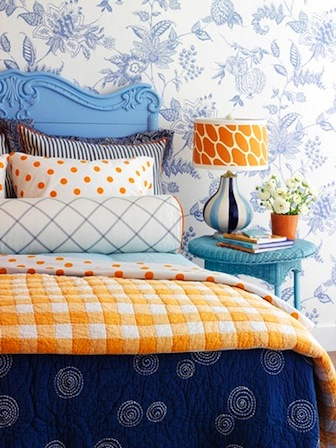 girls bedroom with 7 patterns