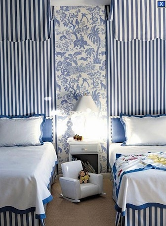 striped canopy and chinoiserie pattern wall