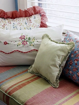 multi pattern pillows for kids vintage room