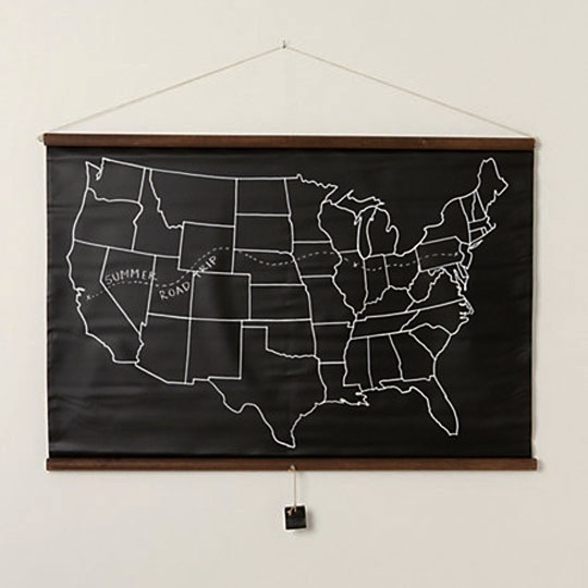 chalkboard USA map for kids room artwork
