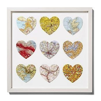 heart shaped map cutouts framed