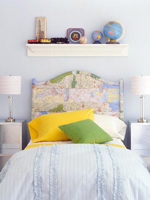 map headboard for teen girls room