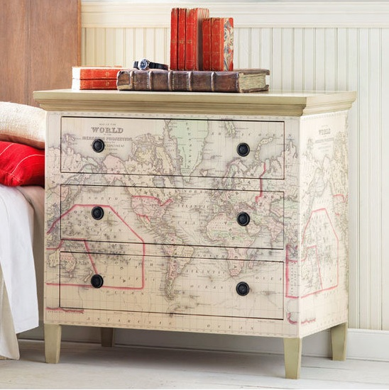 map covered dresser for teen room
