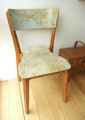 map covered chair for vintage teen room