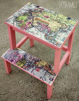 map covered step stool for kids room