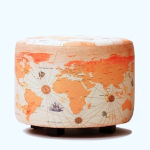 map covered ottoman