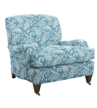 blue paisley lounge chair for teen room