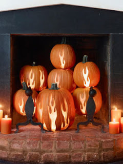 pumpkin fireplace with fire cutouts