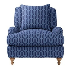 upholstered geometric patterned lounge chair