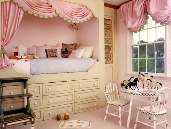 under loft bed storage in girls room - Creative Girls Rooms
