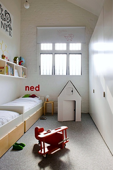 light colored small space kids room