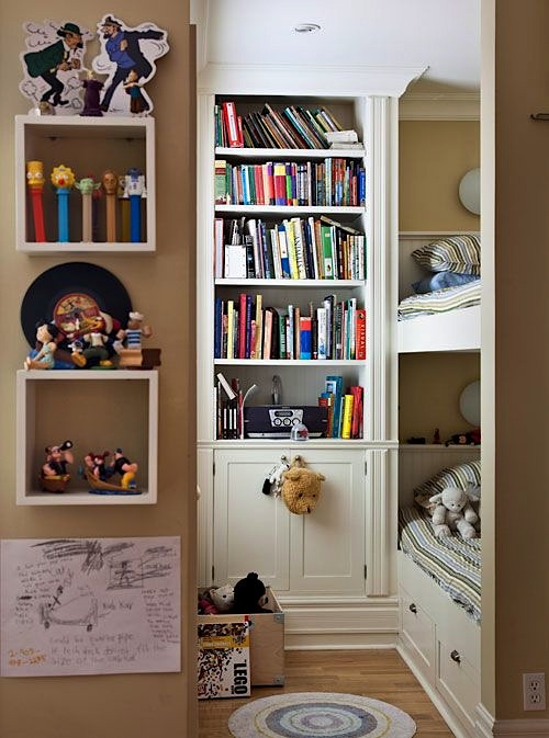 small space kids room with built-in bed and bookcase