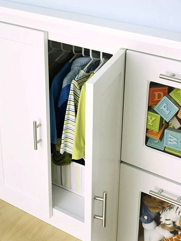 nursery closet from cabinet storage space