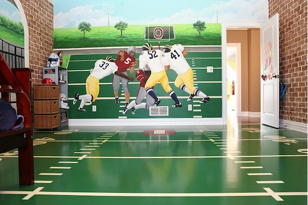 painted playroom floor with indoor football field