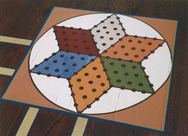 chinese checker board painted on playroom floor