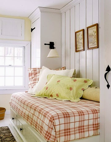 plaid bedspread in kids reading nook