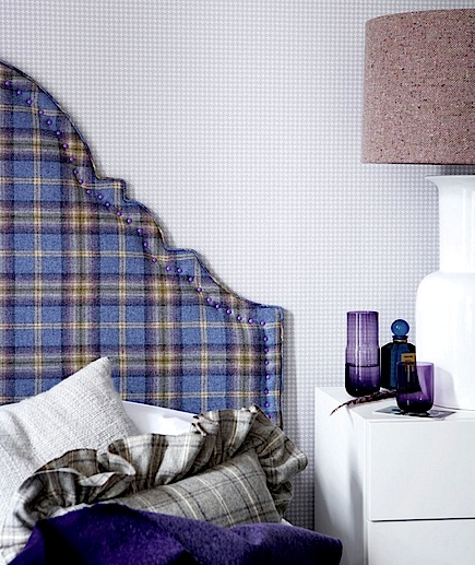 plaid upholstered headboard