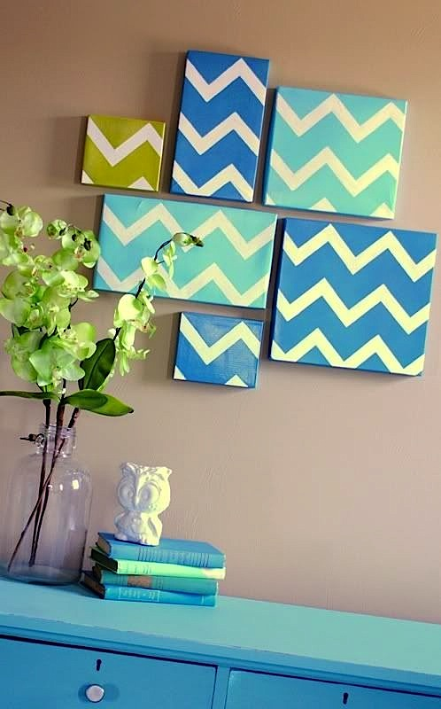 chevron artwork for kids room wall
