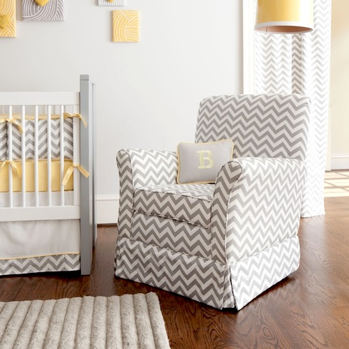chevron pattern upholstery for baby nursery lounge chair