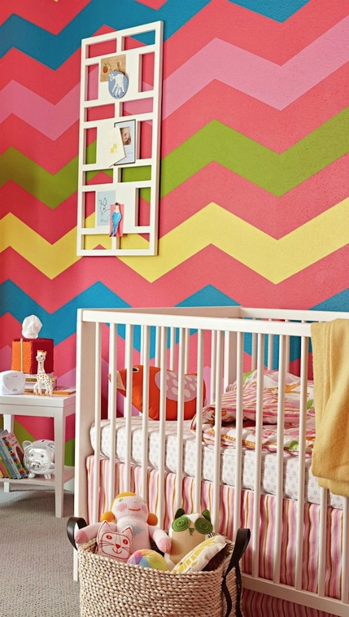 painted pattern chevron baby nursery wall