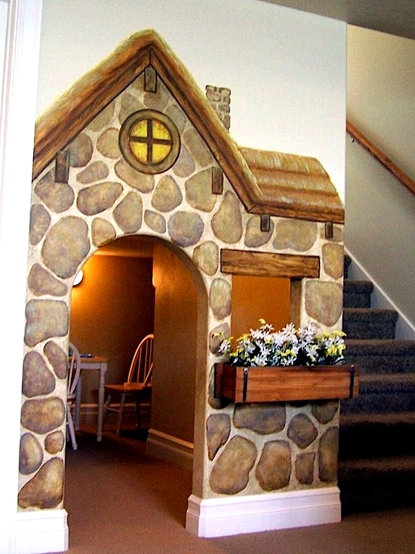 Kids Playhouse Under Stairs Storybook Cottage Mural