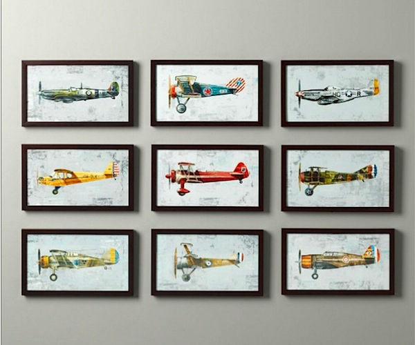 framed vintage airplane artwork