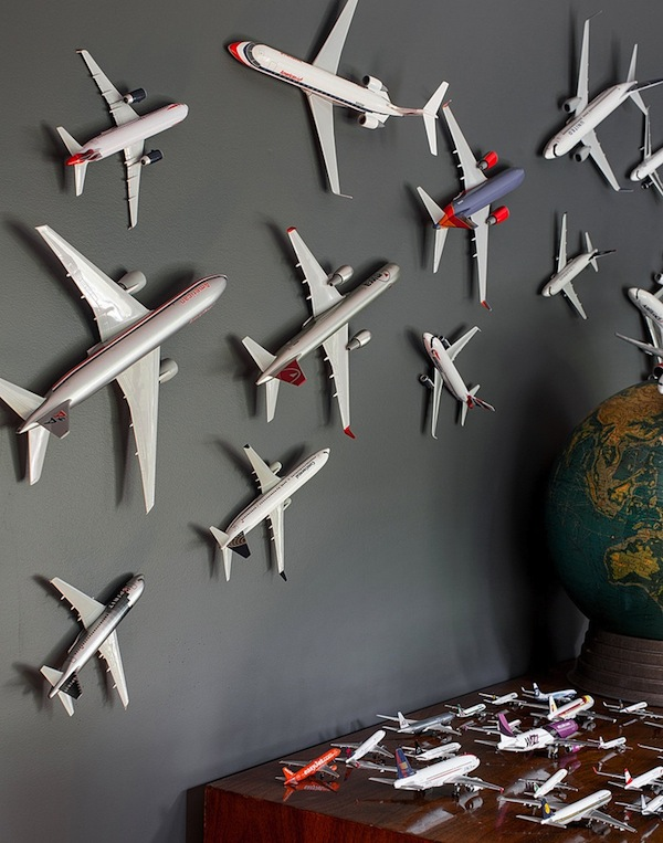 model airplane covered wall