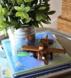 wood toy airplane for baby nursey accessory