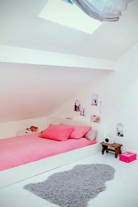 pink white gray girls room under the rafters