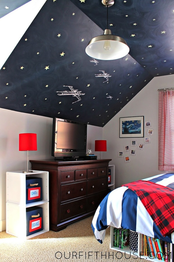 Kids 39 rooms under the eaves storage ideas kidspace for Boys star wars bedroom ideas