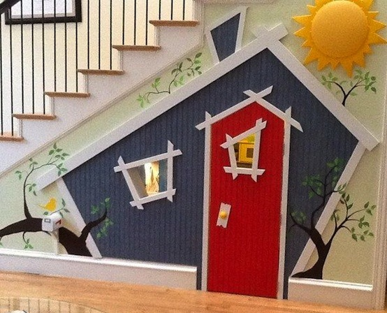 kids crooked play house under the stairs
